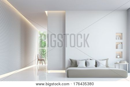 Modern white bedroom interior 3d rendering image. A blank wall with pure white. Decorated wall with extruded horizon line pattern and hidden warm light