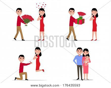 Vector illustration of a cartoon stage set creating a happy family. Husband wife and baby together. Man offers a woman to marry. Boyfriend is taking care of his girlfriend. Flat style.
