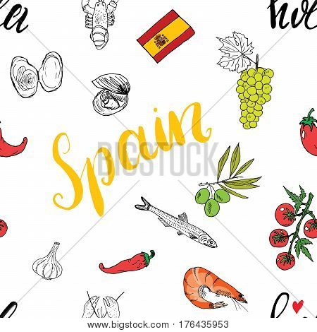 Spain seamless pattern doodle elements Hand drawn sketch spanish food shrimps olives grape flag and lettering. vector illustration background