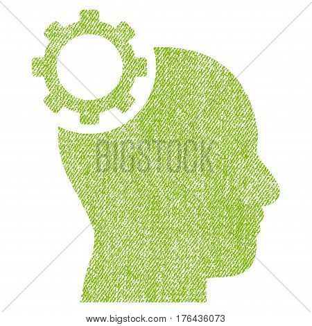 Intellect Gear vector textured icon for overlay watermark stamps. Fabric light green vectorized texture. Symbol with unclean design. Rubber seal stamp with fiber textile structure.