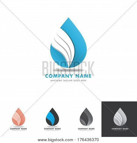 drop water with wings logo for water based company, drink product or others