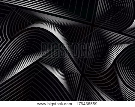 Vector illustration. Abstract background. Volumetric concentric figures of arbitrary shape. Different colors.