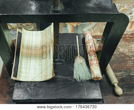 Traditional process of making papyrus in Egypt