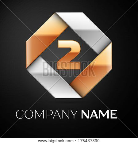 Number two vector logo symbol in the colorful rhombus on black background. Vector template for your design