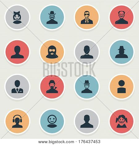 Vector Illustration Set Of Simple Avatar Icons. Elements Portrait, Workman, Little Girl And Other Synonyms Offender, Culprit And Spy.