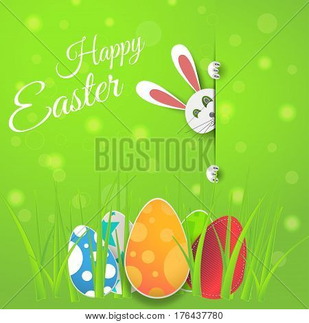 Vector poster of Happy Easter on the gradient green background with bunny egg radiance and text cut from paper.
