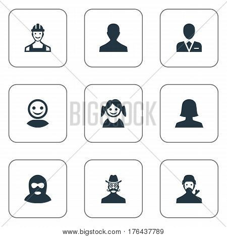Vector Illustration Set Of Simple Member Icons. Elements Workman, Mysterious Man, Felon And Other Synonyms Avatar, Female And Engineer.