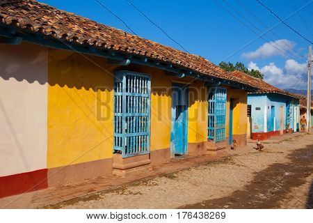 Trinidad Cuba - January 29 2017:The typical old colonial street in Trinidad Cuba. (UNESCO World Heritage)