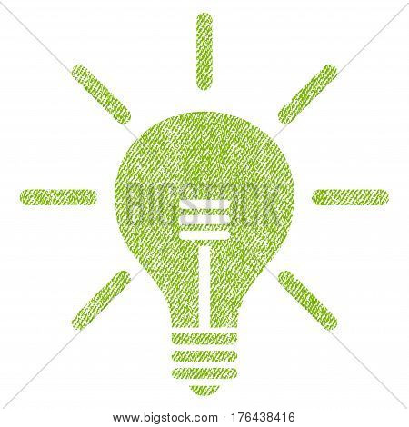 Light Bulb vector textured icon for overlay watermark stamps. Fabric light green vectorized texture. Symbol with dust design. Rubber seal stamp with fiber textile structure.