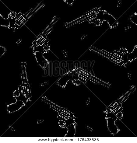 Seamless background with guns. Silhouette of a pistol on a black background. Vector illustration.