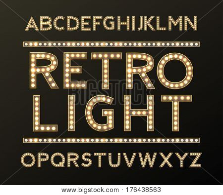 Alphabet with Bulb Lamps Gold Light vector
