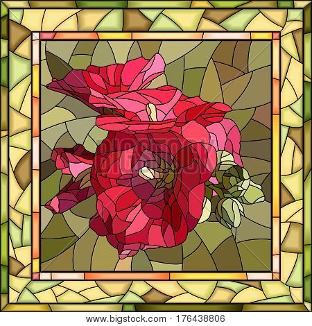 Vector mosaic of red mallow in square stained-glass window frame.