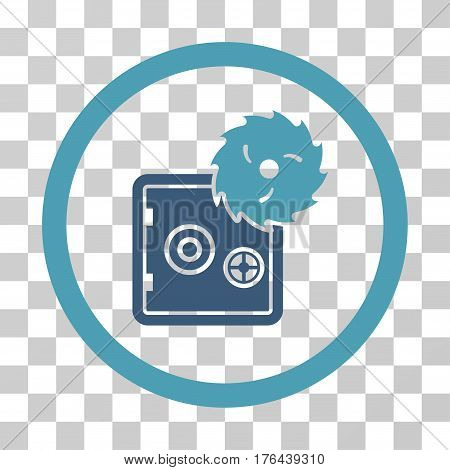 Break Safe icon. Vector illustration style is flat iconic bicolor symbol cyan and blue colors transparent background. Designed for web and software interfaces.
