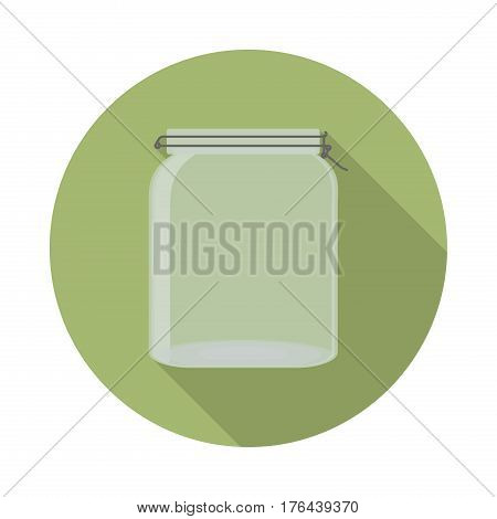 flat vector closed transparent glass jar with lid icon with long shadow in to green round geometric shape as zero waste bpa and plastic free concept