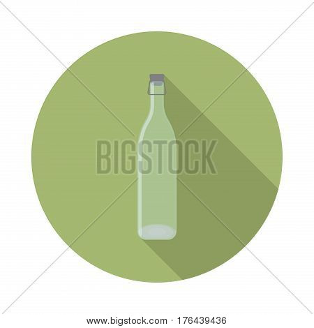flat vector closed transparent glass bottle with lid icon with long shadow in to green round geometric shape as zero waste bpa and plastic free concept