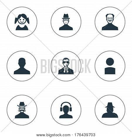 Vector Illustration Set Of Simple Human Icons. Elements Male With Headphone, Little Girl, Male User And Other Synonyms Detective, Male And Member.