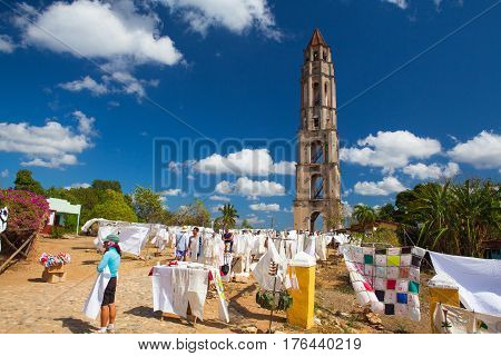 Manaca Iznaga Cuba - January 29 2017: Typical Cuban market near the Manaca Iznaga old slavery tower near Trinidad Cuba. The Manaca Iznaga Tower is the tallest lookout tower ever built in the Caribbean sugar region.