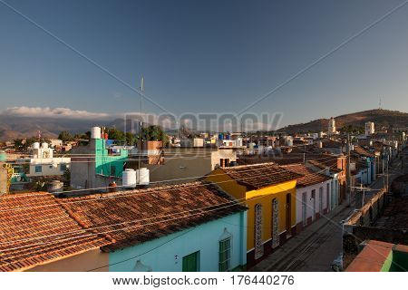 Trinidad Cuba - January 29 2017: View from roof on the street in Trinidad Cuba. One of UNESCOs World Heritage sites since 1988. Sancti Spiritus Province Cuba.View from roof on the street in Trinidad Cuba