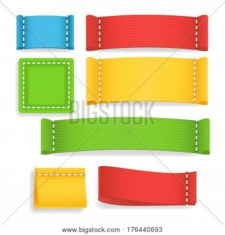 Color Label Fabric Blank Vector. Realistic Fabric Clothing Labels Set. Ready Template For Text