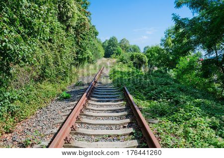 Unused rail track in Czech city Krupka