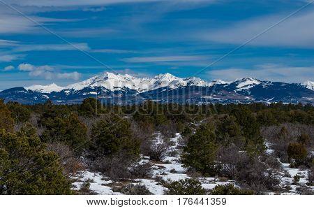 La Plata Mountains with Snow in Winter SW Colorado