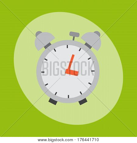 Alarm clock circle sign with chronometer pointer and deadline stopwatch speed office alarm timer minute watch vector illustration icon. Time tool and modern round hour meter equipment.