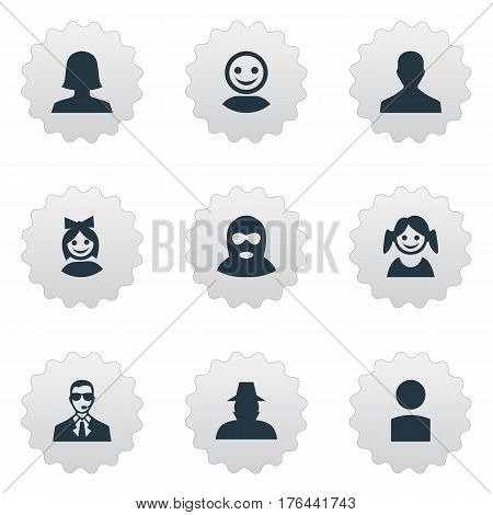 Vector Illustration Set Of Simple Member Icons. Elements Little Girl, Woman User, Bodyguard And Other Synonyms Inspector, Man And Internet.