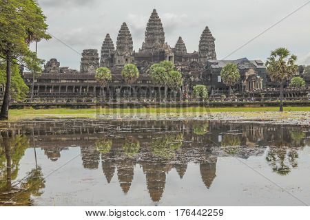 Angkor Vat in Cambodia. Great famous ruins.
