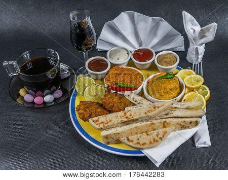 Oriental Indian Set, Chicken Korma, Chicken Tikka Masala, Naan Bread, Onion Bhaji, Plate, Coffee, Li