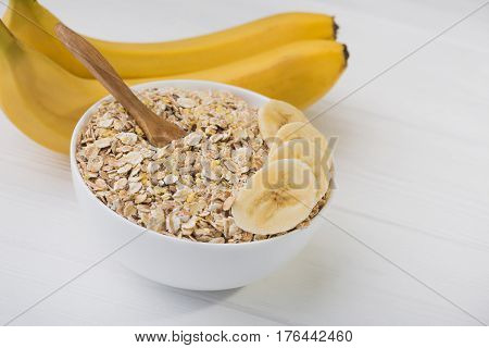Oatmeal With Banana. Diet Concept