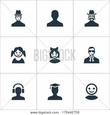 Vector Illustration Set Of Simple Avatar Icons. Elements Bodyguard, Little Girl, Girl Face And Other Synonyms Spy, Small And Girl.