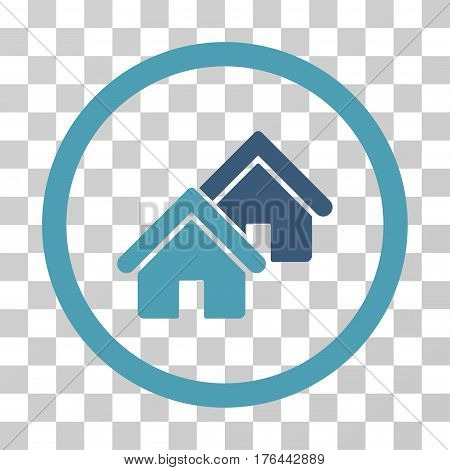 Realty icon. Vector illustration style is flat iconic bicolor symbol cyan and blue colors transparent background. Designed for web and software interfaces.
