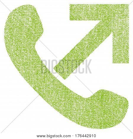 Outgoing Call vector textured icon for overlay watermark stamps. Fabric light green vectorized texture. Symbol with dust design. Rubber seal stamp with fiber textile structure.