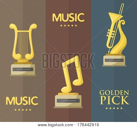 Gold rock star trophy music notes best entertainment win achievement clef and sound shiny golden melody success prize pedestal victory banner vector illustration. Champion competition honor sign.