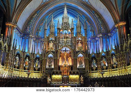 MONTREAL - AUG. 4, 2011: Altar of Montreal Notre-Dame Basilica (French: Basilique Notre-Dame de Montreal), Montreal, Quebec, Canada.