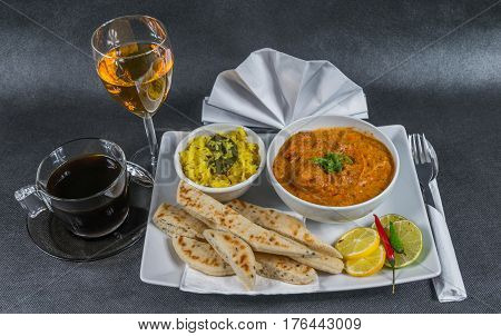 Oriental Indian Set, Chicken Tikka Masala, Naan Bread, White Plate, Black Coffee, White Wine, Napkin