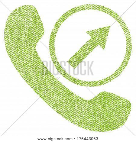 Outgoing Call vector textured icon for overlay watermark stamps. Fabric light green vectorized texture. Symbol with dirty design. Rubber seal stamp with fiber textile structure.