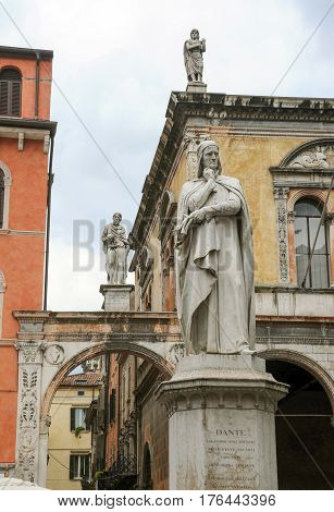 Verona, Italy - 4 May 2012: The statue of the famous italian poet Dante Alighieri in Lords Square at Verona on Italy