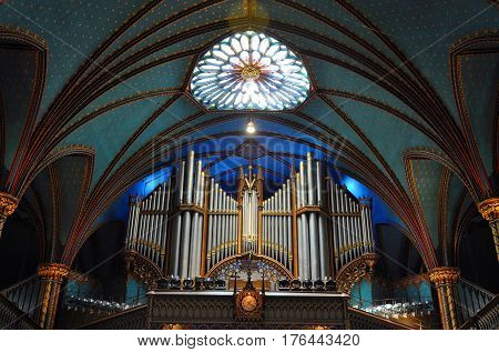 MONTREAL - AUG. 4, 2011: Pipe Organ of Montreal Notre-Dame Basilica (French: Basilique Notre-Dame de Montreal), Montreal, Quebec, Canada.