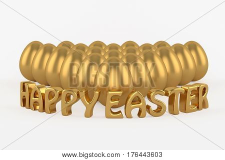 Golden eggs аnd happy easter 3d text on a white background.3D illustration