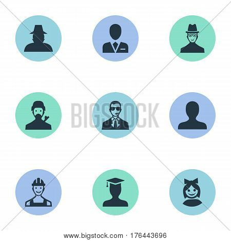 Vector Illustration Set Of Simple Human Icons. Elements Portrait, Postgraduate, Girl Face And Other Synonyms Face, Business And Security.