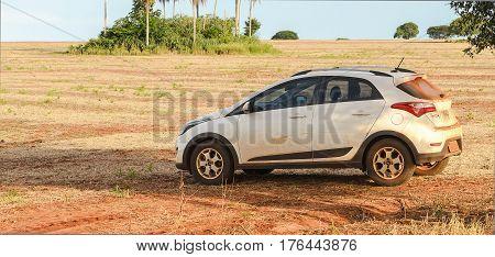 Hyundai Hb20X On A Dirt Road From A Farm