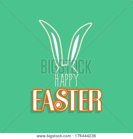 Rabbit Ears For Happy Easter Greeting Card