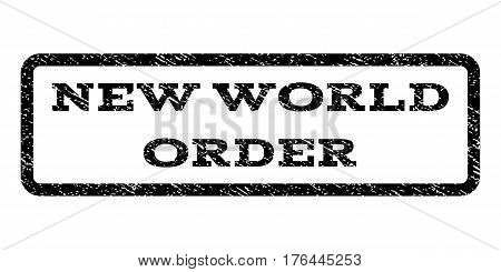 New World Order watermark stamp. Text tag inside rounded rectangle frame with grunge design style. Rubber seal stamp with dust texture. Vector black ink imprint on a white background.