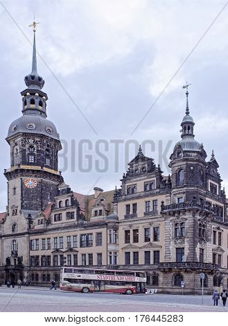Dresden Germany- January 42017: The royal residence on the Theater Square on which tourists go and the transport moves