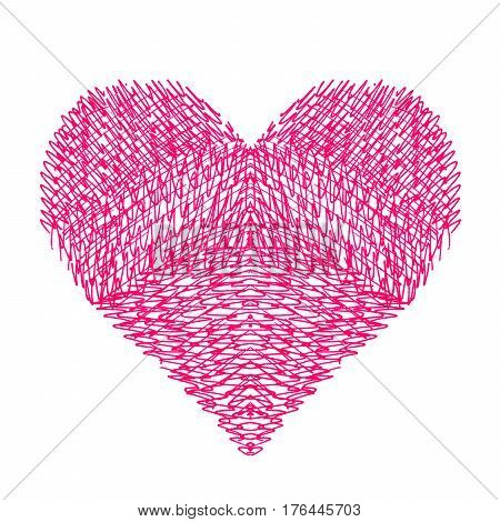 Abstract bright heart on white background hand draw