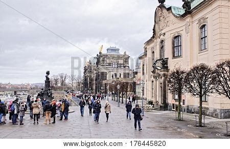 DresdenGermany-January 42017:View from Bruhl's terrace. Pedestrians move in sigh