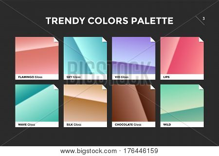 Set of colorful trendy gradient template. Collection palette of color metallic gradient illustrations with gloss for backgrounds, textures. Trendy colors palettes of new season. Vector Illustration