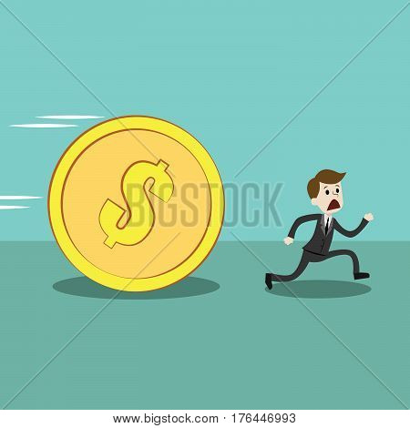 Businessman or manager run away from big golden coin with sign dollar. The coin is rolling down and can crush him. Business, concept, Vector, illustration, flat