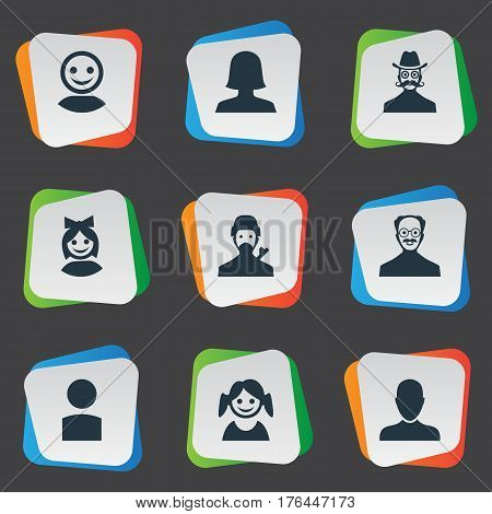 Vector Illustration Set Of Simple Member Icons. Elements Woman User, Whiskers Man, Job Man And Other Synonyms Member, Avatar And Face.